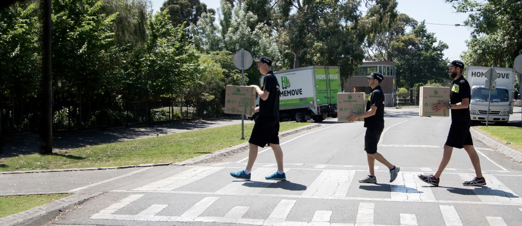 Removalists & Storage in Fitzroy North, VIC, Melbourne. Moving boxes at crossing.